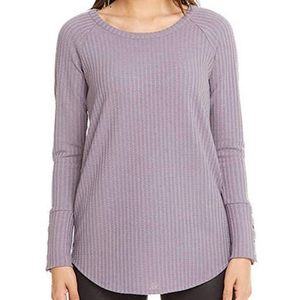Chaser waffle knit T-shirt in purple L/S Large